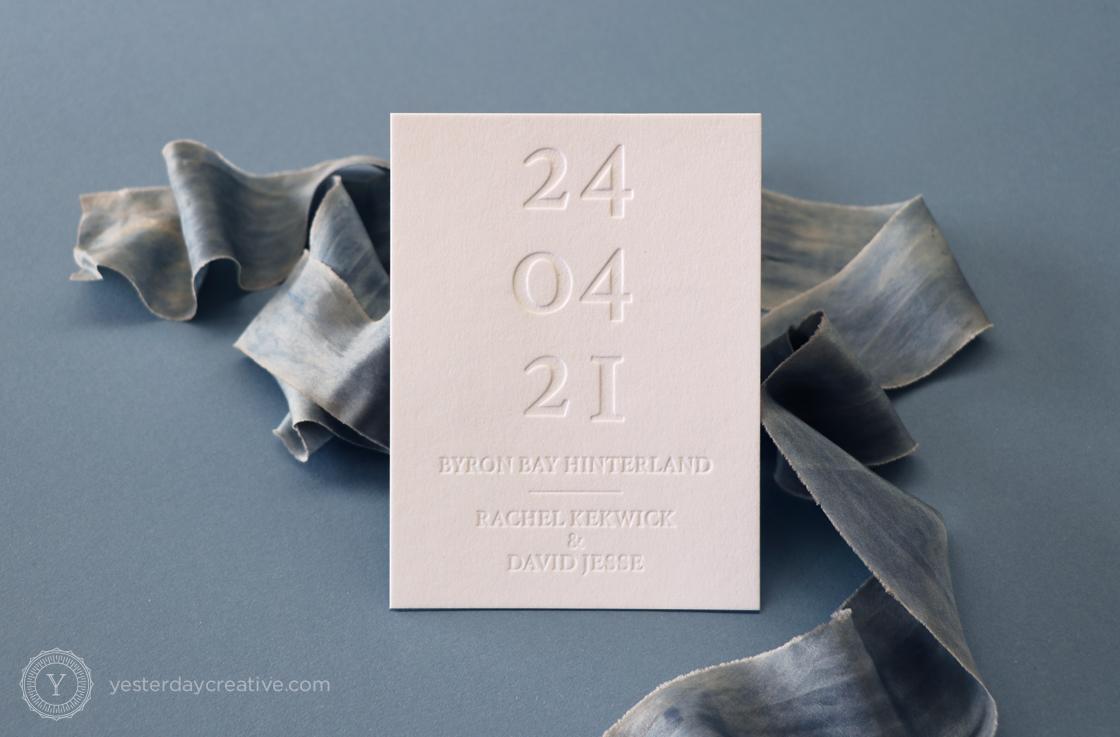 Yesterday Creative Letterpress Save the Date Minimal Modern Blin Impression Byron Bay Wedding