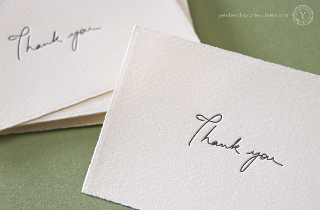Yesterday Creative Letterpress Thank You Cards Mediovalis Paper Notecards